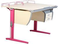 Детская парта растишка стол трансформер Demi СУТ17-04+ТСН.01-01 клен\розовый)