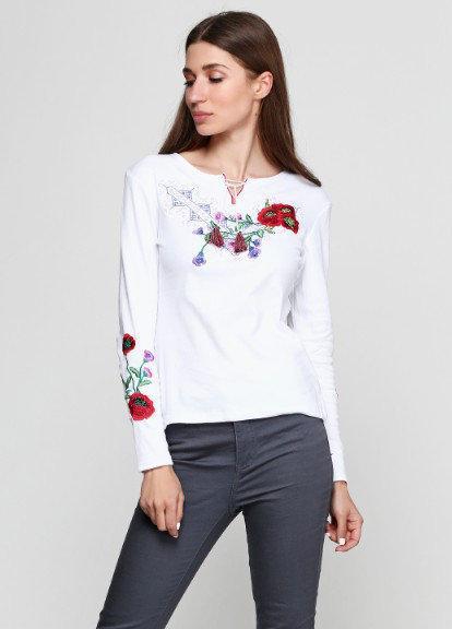 Белая трикотажная вышиванка Виолетта с длинным рукавом