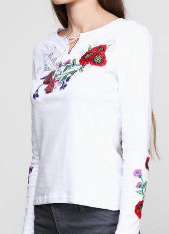 Белая трикотажная вышиванка Виолетта с длинным рукавом, фото 2