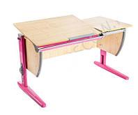Детская парта растишка стол трансформер Demi СУТ17-00 клен\розовый)
