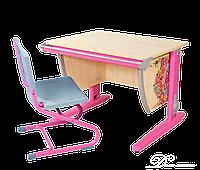 """Комплект Детская парта растишка стол трансформер Demi СУТ14-00+СУТ01 с рисунком """"Цветы"""" (клен\розовый)"""