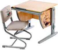 """Комплект Детская парта растишка стол трансформер Demi СУТ14-00+СУТ01 с рисунком """"Фрегат"""" (клен\серый)"""