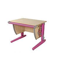 """Детская парта растишка стол трансформер Demi СУТ14-00 с рисунком """"Цветы"""" (клен\розовый)"""
