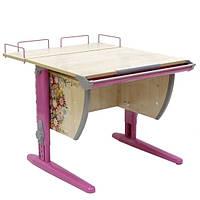 """Детская парта растишка стол трансформер Demi СУТ14-01 с рисунком """"Цветы"""" (клен\розовый)"""