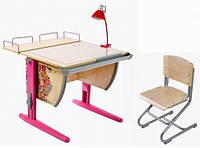 """Комплект Детская парта растишка стол трансформер Demi СУТ14-01+СУТ01 с рисунком """"Цветы"""" (клен\розовый)"""