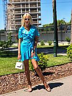 Хлопковое летнее короткое платье с рюшами в горох, фото 1