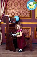 Детская парта растишка стол трансформер Абсолют Школярик (с пеналом и надстройкой + стул) (Цвет: Бук шоколадный-Бук снег) С-885+Н-892+C887