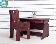 Детская парта растишка стол трансформер Абсолют Школярик (с пеналом и подстаканником + увеличенный размер) Без стула (Цвет: Бук шоколадный-Бук снег)