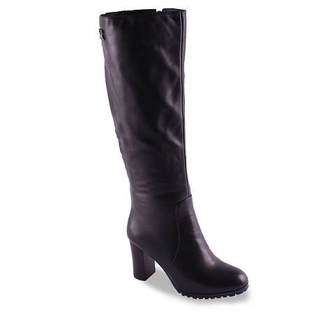 Кожаные сапоги(на каблуке, удобные, украшение, теплые, черные, зимние)