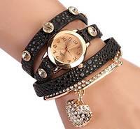 Женские наручные часы сердечко/темно-коричневые