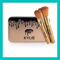 Набор кистей для макияжа Kylie большие золото 12 шт!Опт