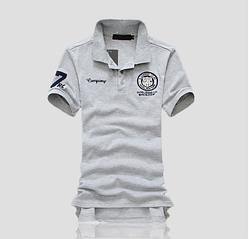 Модная футболка с воротником код 66 (серая) L, XL
