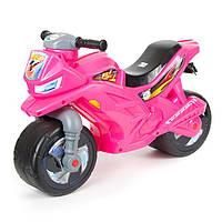Детский двухколесный мотоцикл толокар Орион Розовый