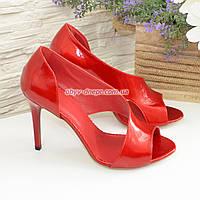 Женские лаковые босоножки на шпильке, цвет красный, фото 1