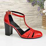 Женские лаковые красные босоножки на высоком устойчивом каблуке, фото 3