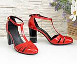 Женские лаковые красные босоножки на высоком устойчивом каблуке, фото 4