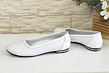 Женские кожаные стильные туфли на низком ходу, фото 4
