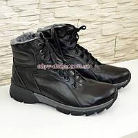 Ботинки мужские на шнуровке и молнии, натуральная черная кожа, зима/осень, фото 1
