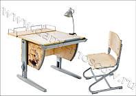 """Комплект Детская парта растишка стол трансформер Demi СУТ14-01+СУТ01 с рисунком """"Фрегат"""" (клен\серый)"""