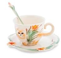Фарфоровая чайная пара Персидский кот Pavone FM- 69/ 3, фото 1