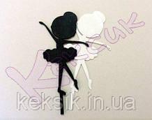 Топпер пластик для торта Балерина малышка черная