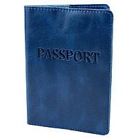 Обложка на паспорт кожаная ST-03 (синяя), фото 1
