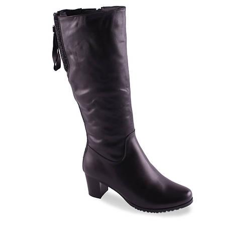 Кожаные сапоги Velly (зимние, на удобной каблуке, замшевая вставка с стразами, черные, теплые, на замке)