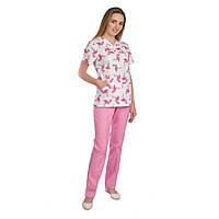 Медицинский женский костюм Топаз принт фламинго