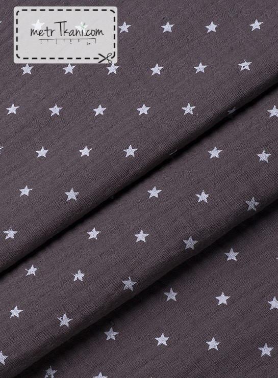 Двухслойный муслин коричневый с белыми звездами 135 г/м2  № 3-3