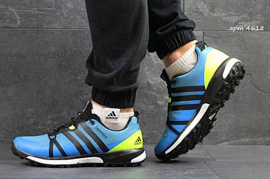 Мужские кроссовки синие-салатовый летние