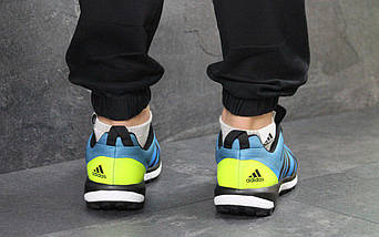 Мужские кроссовки синие-салатовый летние, фото 2