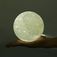 Декоративная лампа ночник Луна 3D 15 см