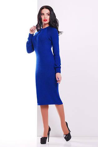 Женское платье полушерсть, электрик, р.42-46, фото 2