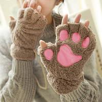 Жіночі рукавички лапки, коричневі