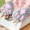 Жіночі рукавички лапки, сірі