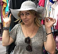 Шляпа женская с полями льняная , фото 1