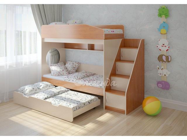Триярусна выкатная підліткове ліжко