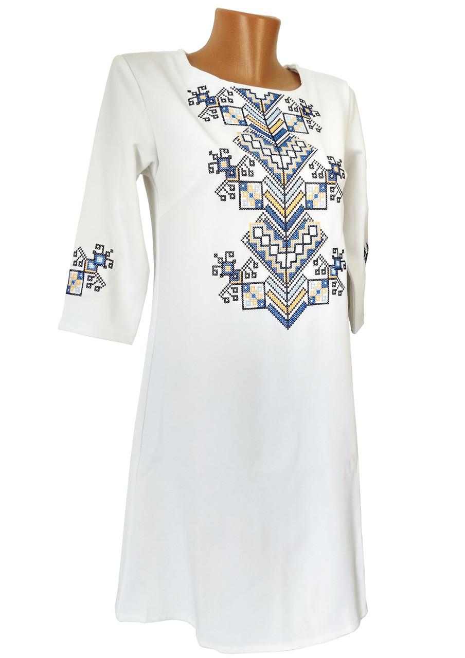 Стильна жіноча вишита сукня короткого фасону у білому кольорі «Дерево життя»