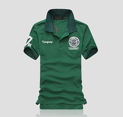 Модная футболка с воротником код 66 (зеленая) размер L, XL