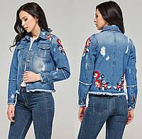 224aa04d43f Джинсовая куртка женская с вышивкой жакет короткий джинсовый коттоновый