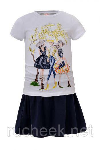 Костюм двойка летний футболка и юбка для девочек р. 98 -122,  Венгрия  Glo-story 4088 122
