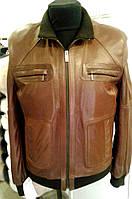 Куртка кожаная, мужская, на резинке (коричневая), фото 1