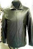 Длинная кожаная черная мужская куртка, ровная, на молнии, фото 1
