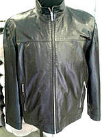 Удлиненная кожаная черная куртка, ровная, на молнии, фото 1