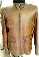 Удлиненная кожаная куртка (мужская), ровная, на молнии. Цвет - рыжий, фото 1