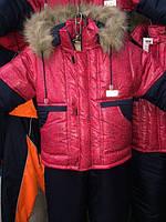 Зимний детский комбинезон Лабиринт красный