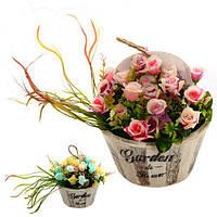"""Композиция из искусственных цветов """"Garden flowers"""" 25*17*25см"""