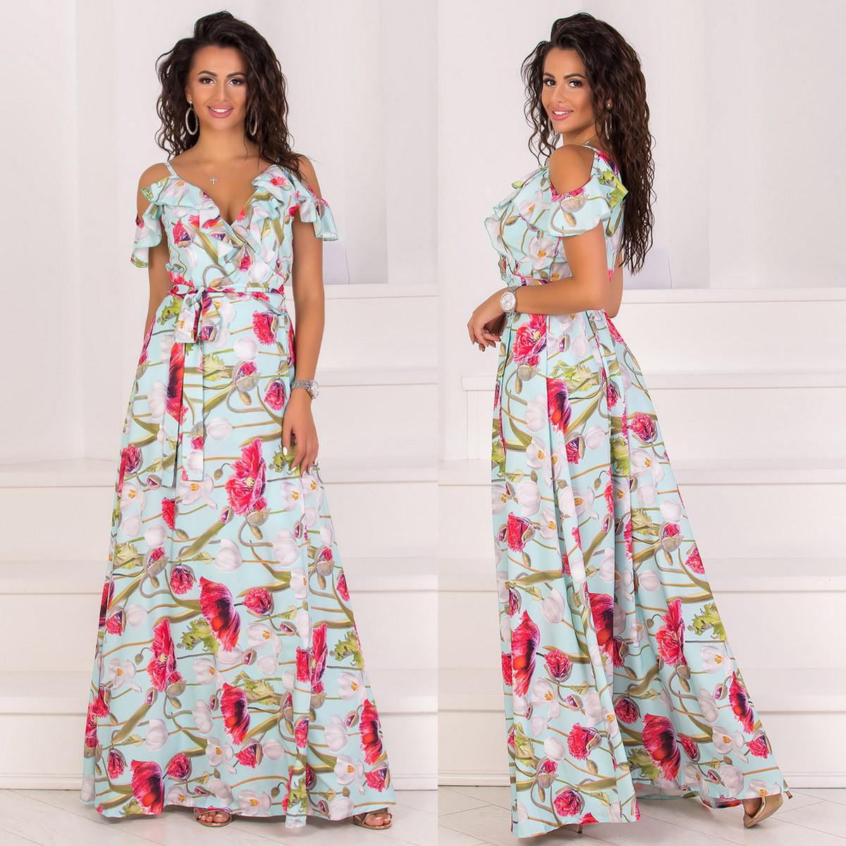 """Літнє плаття-сарафан в підлогу з квітковим принтом """"Акапулько"""""""