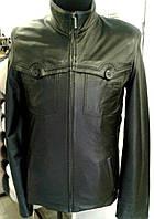 Кожаная черная куртка, на молнии, нагрудные карманы - на пуговицах, фото 1