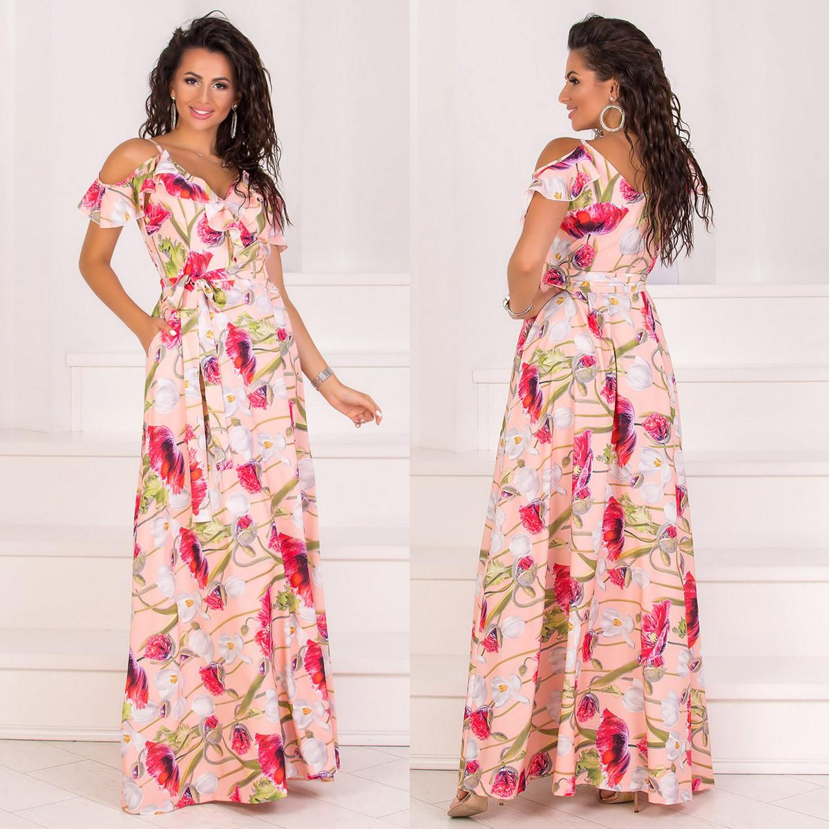 """Персиковое длинное платье-сарафан на запах """"Акапулько"""""""